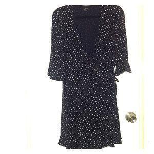 Navy blue polka dot dress/romper (hidden skort!)
